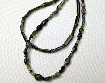 Green tourmaline necklace and earrings set