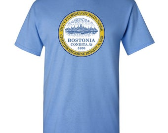 Boston City Flag T Shirt - Carolina Blue