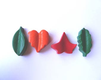 4 Leaf Crayons - Red, Orange and Green - Novelty Crayons - RECYCLED