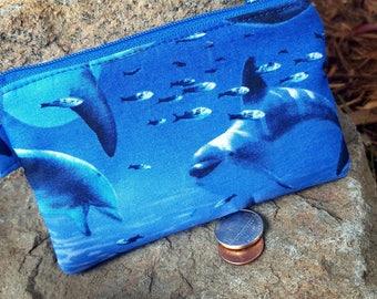 Dolphin Coin Purse, Dolphin Zipper Wallet, Ear Bud Case, Change Purse, Kids Coin Purse