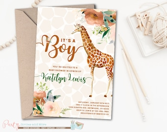 Giraffe Invitation, Giraffe Baby Shower Invitation, Boy Baby Shower Invitation, Boy Giraffe Baby Shower Invitation, Giraffe Baby Shower