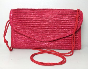 Vibrant Pink Straw Envelope Crossbody/ Wicker Bag