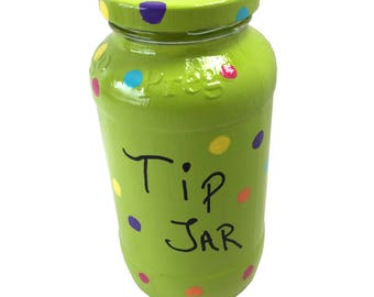 Colorful Polka Dot Tip Jar