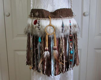 Native American Indian Inspired Fringe Bag - Hippie Gypsy Fringe Bag Faux Arctic Wolf Fur - Boho Cross Body Bag Navajo Tribal Festival Purse