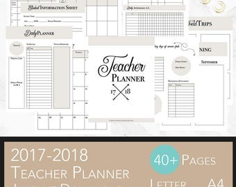 Teacher planner 2017 2018 lesson planner printable academic teacher planner teacher planner printable teacher planner 2017 2018 editable pdf pronofoot35fo Gallery