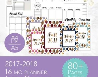 2017-2018 Planner | 16 month Planner | 2017 Monthly Agenda | 2018 Monthly Agenda |Printable Planner | 2018 Weekly Agenda | Planner Printable
