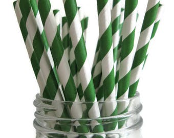 SALE ~ 25 Kelly Green Stripe Paper Straws | Dark Green Stripe Paper Straws | Green Paper Straws | Green and White Stripe Paper Straws