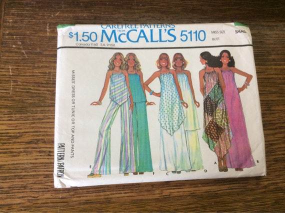 Vintage Mccalls pattern 5110 from 1976, misses dress or tunic, vintage 70' tunic pattern, super cute retro sewing pattern, vintgae pattern