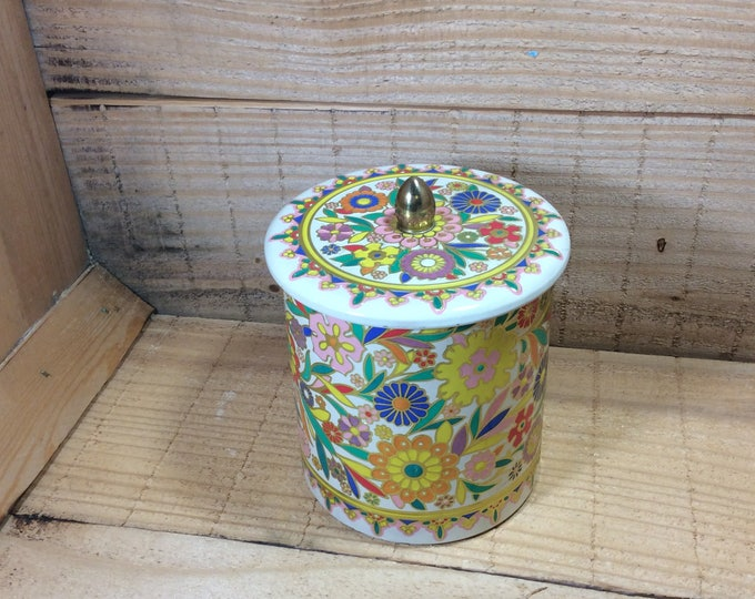 Vintage made in Holland container absolutely beautiful floral embossed design, super colorful vintage round tin, bright floral container tin