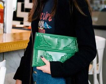 Designer envelope clutch / medusa clutch bag / vegan green clutch purse / standout green envelope clutch  / vegan & cruelty free / MeDusa