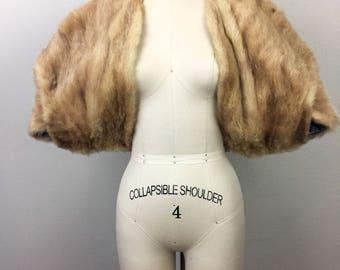 Vintage 50s 60s Brown Mink Stole Convertible Fur Wrap Shrug Coat