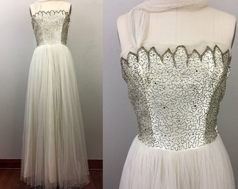 Vintage 50s Strapless Ballgown Evening Dress Cream Satin Beaded Mesh White Wedding S