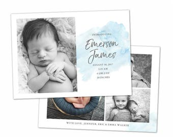 Birth Announcement Template - Watercolor Baby Announcement Template for Photographers - Newborn 5x7 card - CB113  - INSTANT DOWNLOAD