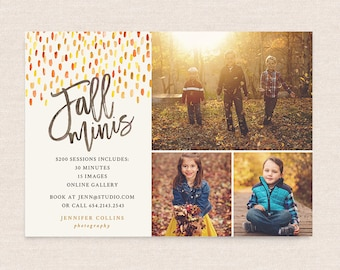 Fall Mini Session Template - Photography Marketing board - Fall Minis Psd template - INSTANT DOWNLOAD - Brushed Fall MFS007