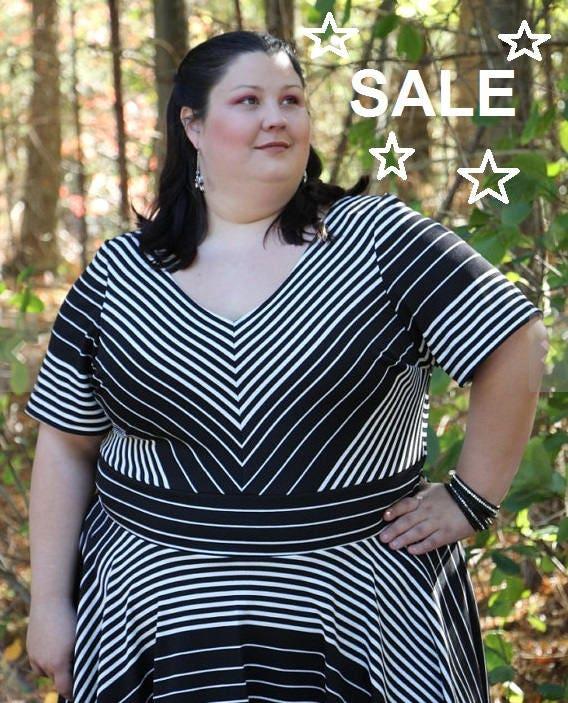 SALE Plus Size Dress, Stripe Black and White Womens Plus Size ...