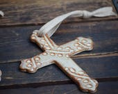 stoneware cross ornament