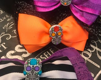 Candy Skull Bows - Day of the Dead Bows - Bows for Girls