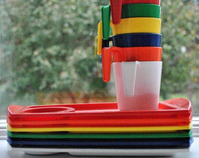 Vintage Fremware Rainbow Snack Set Trays Cups Mid Century 1970s