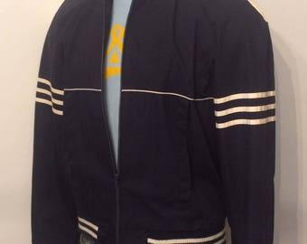 Vintage MENS Sigallo dark blue light jacket with ribbed knit collar & stripe detailing, size M