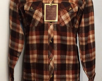 Vintage MENS 70s Sears brown plaid flannel shirt, size M-Tall, dead stock