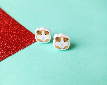Guinea pig earrings, guinea pig gift, girls earrings, cute earrings, stud earrings, animal earrings, guinea pig jewellery, handmade earrings