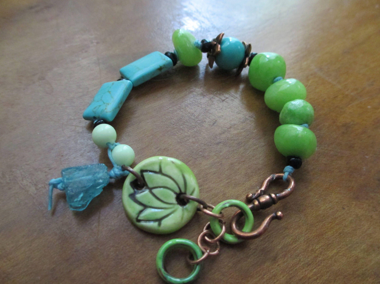 Ceramic lotus flower lime green turquoise lemon chyrsoprase ceramic lotus flower lime green turquoise lemon chyrsoprase spititual bracelet boho izmirmasajfo