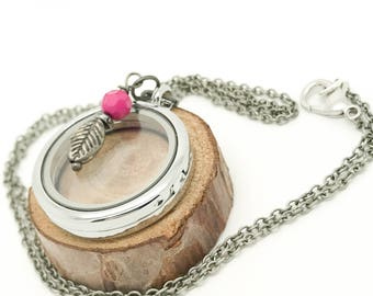 30mm Floating Locket - brushed silver rolo chain with pink feather bangle