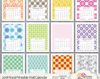 Printable Calendar 2018, Printable Wall Calendar, Colourful Floral Calendar PDF JPG 8.5 x 11 in