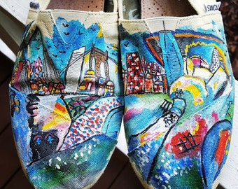 Handpainted TOMS Landmark Cityscape inspired by Kandinsky