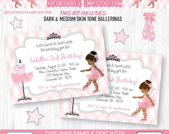 Ballerina Invitation Set | INSTANT DOWNLOAD & Edit in Adobe Reader | African American | Indian | Printable Invite | Paper Craft Party