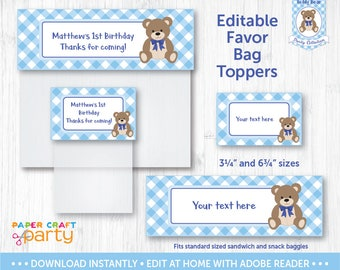 Teddy Bear Picnic Favor Bag Toppers - Printable Treat Bag Topper - Goodie bagBlue - Instant Downloading Edit and Adobe Reader TB10