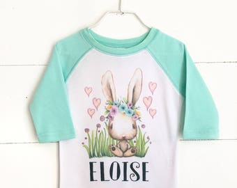 Girls Easter Shirt, Easter Bunny Shirt, Personalized Easter Raglan, Mint Green Raglan, Kids Easter Shirt, Baby Girl Easter Shirt