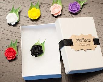 Mini Rose Flower Lapel Pin