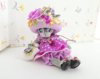 Butterfly Cross Stitching Kitten with Big Fancy Hat Miniature Figurine Collectible Doll
