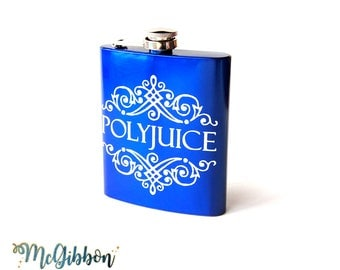 Polyjuice Potion hip flask - wizard & witch cosplay, Pottersquad/Potterhead barware, geeky/literarybook lover/worm gift