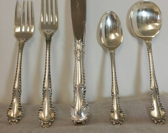 Gorham English Gadroon Antique 5 Piece Silverware Set for 8 With Butter Knife, 41 Total Pieces, Estate Sale, No Monogram