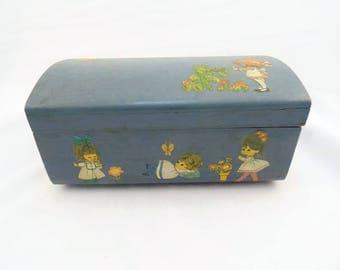 Vintage Decoupage Wooden Box Blue Little Girl Treasure Box Hand Painted Hand Made Cute Box