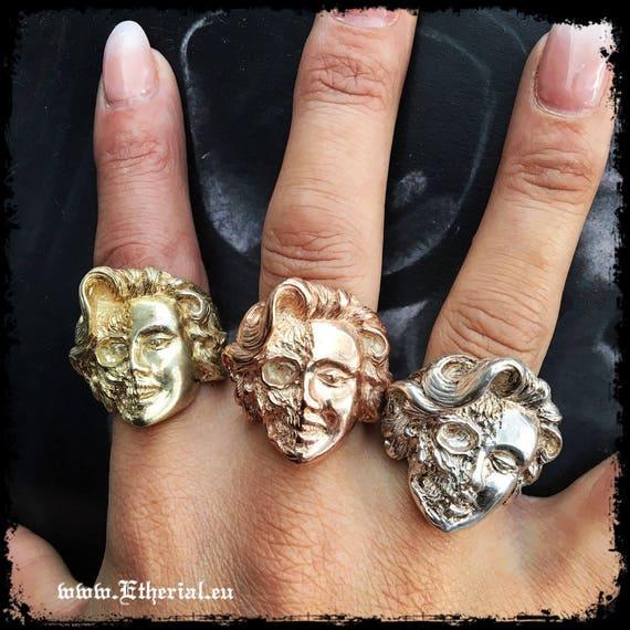 Etherial Jewelry Rock Chic Talisman Luxury Biker Custom Handmade Artisan Pure Sterling Silver .925 Half Skull Half Face Marilyn Monroe Ring
