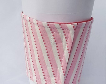 Coffee Cozy - Pink and white stripes - reversible