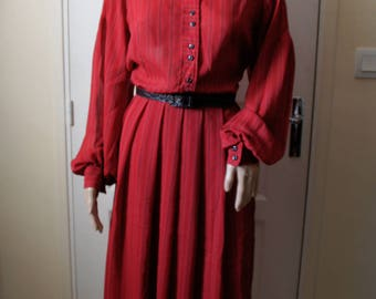 Vintage Pinstripe red long dress. 1940s style