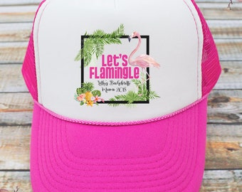 Lets Flamingle Flamingo Trucker Hat -Custom Bachelorette Party Hats, Bridesmaid Hat for Bachelorette Party, Bridesmaid Trucker Hat