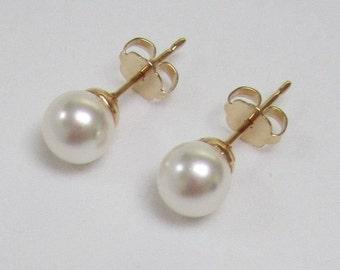 STUD EARRINGS Swarovski Pearl 6mm Pearl Stud Earrings White Pearl Gold Plated post, Small Pearl Earrings, Round Pearl Studs Handmade in USA