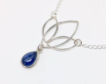 Kyanite Necklace - Kyanite Jewelry - Kyanite Pendant - Gift for Her - Blue Jewelry - Sterling Necklace - Gemstone Necklace - Kyanite Flower