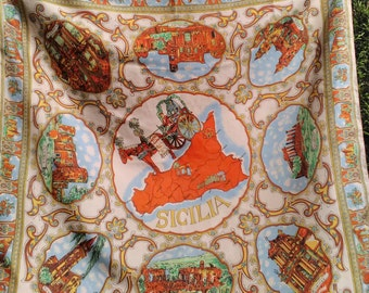 Souvenir scarf from Sicily, polyester.