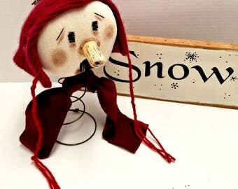 Primitive Snowman Nodder, Winter Makedo Snowman, Rusty Spring Snowman, Winter Decor