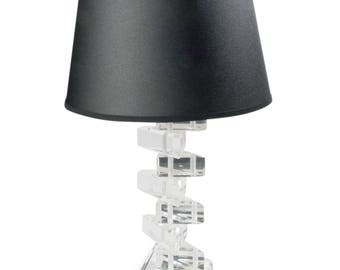 "Lucite ""Stacked Triangles"" Table Lamp"