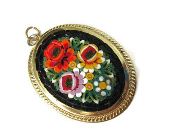 Micro Mosaic Pin Pendant / Large Oval Black Italian Micromosaic/ Floral Gold Tone Mosaic Pendant / Yellow Red Pink white Flowers Roped Bezel