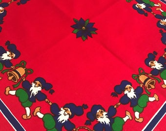 Vintage swedish christmas tablecloth 60s retro print  Vintage pattern gnomes berries hearts Scandinavian design printed table topper