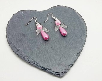 Pink Glass Pearl Angel Earrings, Guardian Angel, Charm Earrings, Dangle And Drop, Gift For Her