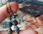 Mixed Cityscape Travel Book Paper Bead Earrings Color Stacks